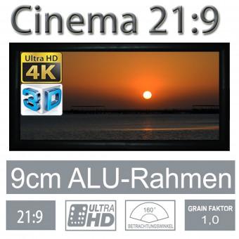 21:9 Rahmenleinwand 9cm Rahmenstärke RX-Serie 133Zoll Bild:311x132cm
