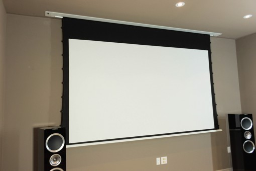 16:9 tab-tensioned motorised screen in ceiling HiViGrey Cinema 5D/HDR acoustic transparent