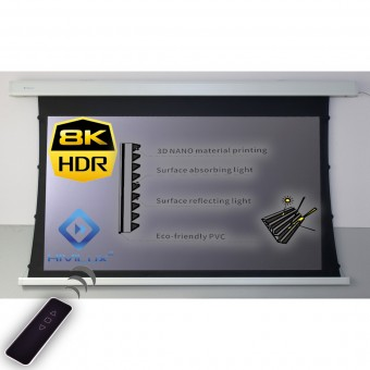 16:9 tab-tensioned motorised screen housing white HiViPrism Cinema HDR