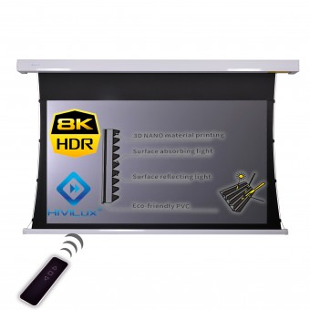 16:9 Tension Motor Leinwand Gehäuse weiß HiViPrism Cinema HDR