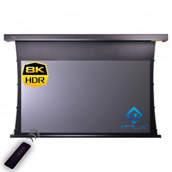 16:9 tab-tensioned motorised screen housing black HiViGrey Cinema 5D/HDR