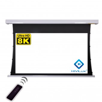 16:9 tab-tensioned motorised screen housing white square